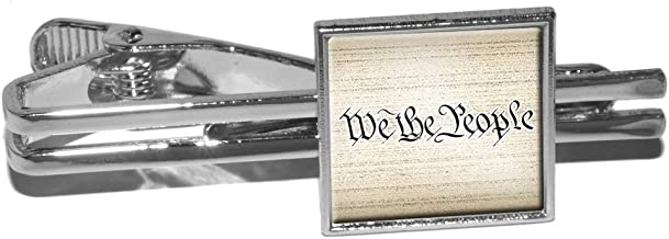 We The People Constitution Square Tie Bar Clip Clasp Tack Silver USA