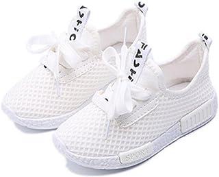 Daclay Zapatos niños Niñas Deportivo Transpirable Malla con Parte Superior de Cuero cómoda Suave Cordones Zapatillas Sneakers