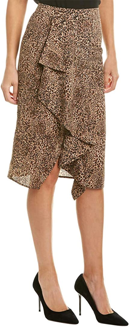 1.STATE Ruffle Front Leopard Muse Pencil Skirt Caramel Multi 8