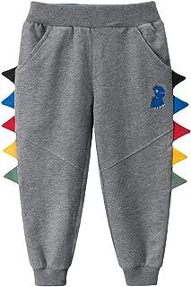 LAUSONS Pantalones Deportivos Dinosaurio Impresión Niños Chándal Algodón Elástico Cintura