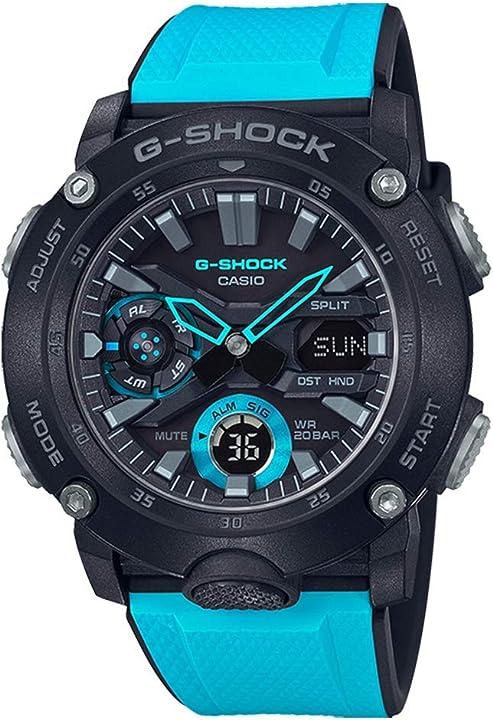 Orologio casio g-shock orologio 20 bar, analogico - digitale, uomo, con cinturino in carbonio GA-2000-1A2ER