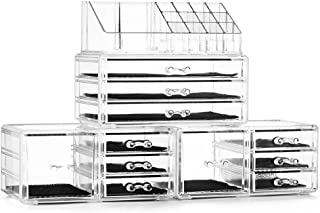 Felicite Home Acrylic Jewelry and Cosmetic Storage Makeup Organizer Set 4 Piece