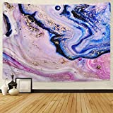 Alishomtll Psychedelic Art Gold Tapestry Colorful Natural Luxury Gouache Landscape Tapestry Trippy Tapestry Wall Hanging (Art Gold, 59.1' x 82.7')