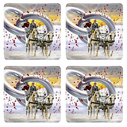 MSD Natural Rubber Square Coasters Set of 4 Design for Winter Snow Cold Horse Nature White Frost Outdoor Transportation Sled Mamma