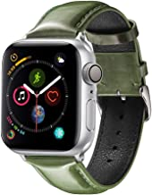 Light Compatible with iWatch Band 44 42mm 40 38mm, Genuine Leather Business Thick Style Replacement Band Strap Compatible with Apple Watch Series5 4 3 2 1 (L-Army Green, 42mm/44mm)