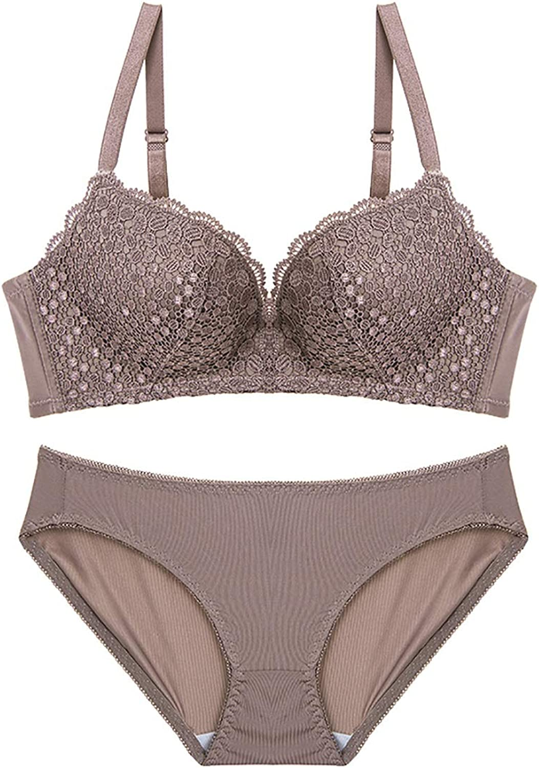 NICE' living hall Lace Embroidery Wave Points Comfortably Gathered Sexy Bra Set, Sponge, no Steel Ring, Adjustable Chest Type, Four Rows of Three Buckles. Comfortable
