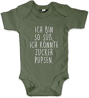 net-shirts Organic Baby Body mit Ich Bin so süß ich könnte Zucker pupsen Aufdruck Spruch lustig Strampler Babybekleidung aus Bio-Baumwolle mit Zertifikat