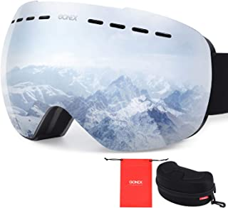 Gonex OTG Ski Goggles, Oversized Snow Snowboard Goggles Anti-Fog UV Protection with Box for Men & Women