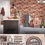 Papier peint vintage Papier peint cuisine Papier peint papier Beige/crème Marron Rouge 334801 SP03918 | Papier excellent rapport qualité/prix