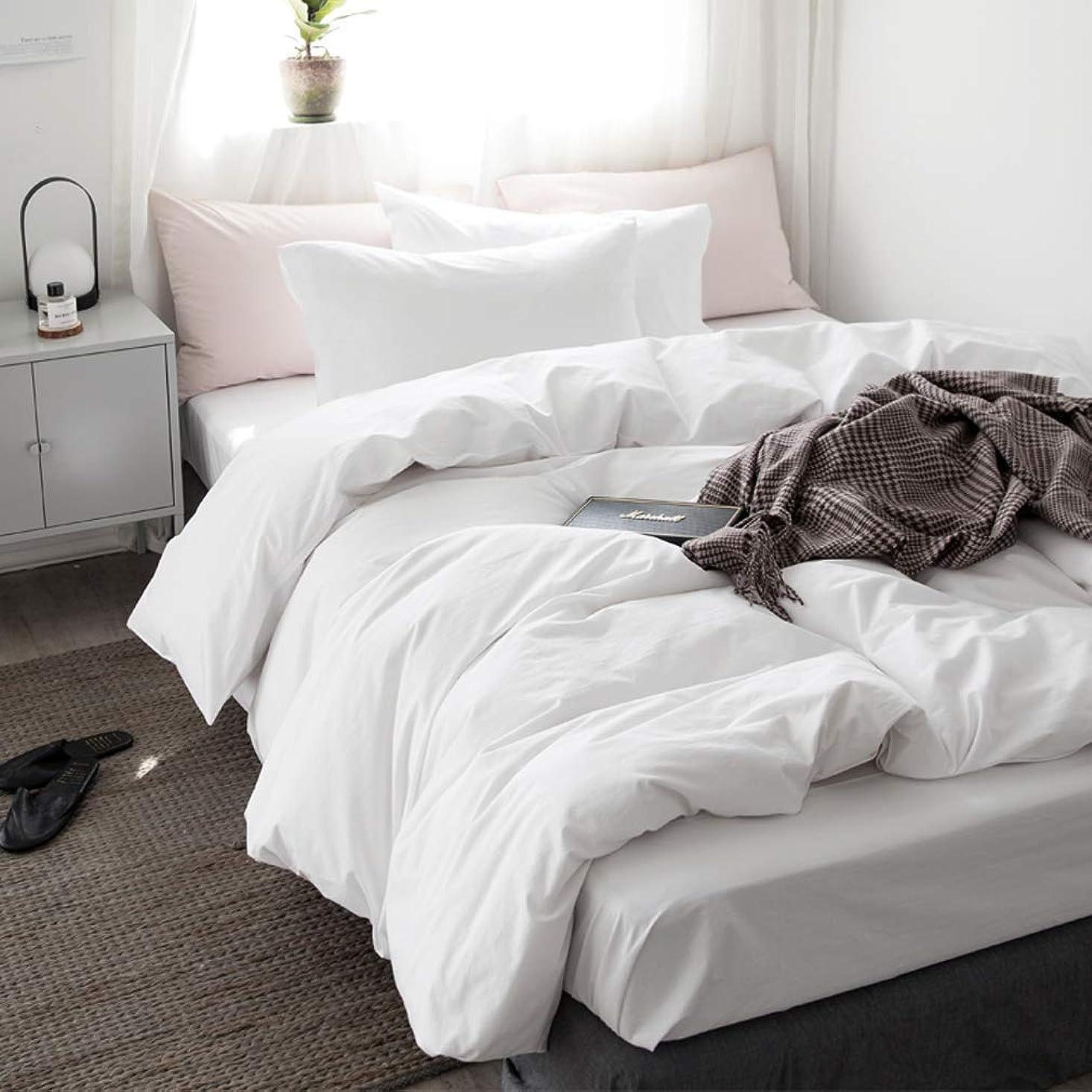 一過性ドロップ汚すホワイト 無地の寝具カバー/掛ふとんカバーと枕カバー2枚 クイーン