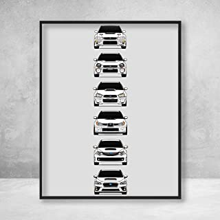 Subaru WRX STI Poster Print Wall Art of the History and Evolution of the Subie STI Generations (White Cars)