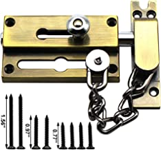 Defender Security Heavy Ultra-Thick Door Bolts with Anti-Theft Chain,Hardware Duty Lach Lock for Inside Door - Secondary S...