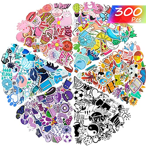 300 Pieces Mixed Stickers for Water Bottles, Vinyl Stickers Colorful Laptop Stickers Durable Aesthetic Waterproof Stickers Trendy Decals for Water Bottle, Laptop Decoration, Mixed 6 Styles