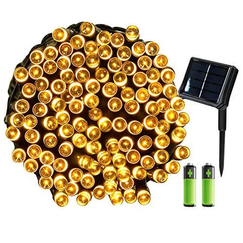 Yasolote, Solar/Batterie Betrieben Umschaltbar Lichterkette Außen, Wasserdicht LED Weihnachtsdeko, 22m 200 LED 8 Modi, Weihnachtsbeleuchtung für Garten, Weihnachtsbaum, Pavillon Deko (Warmweiß)