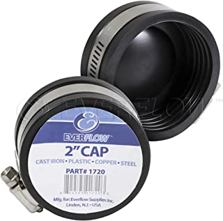 EVERCONNECT 1720x2 Flexible Pvc Pipe Cap with Stainless Steel Clamps 2 inch Black (pack of 2)