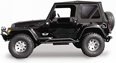 RAMPAGE PRODUCTS 68735 Complete Soft Top with Frame & Hardware for 1997-2006 Jeep Wrangler TJ, with Full Steel Doors (no Soft Upper Doors), Black Diamond