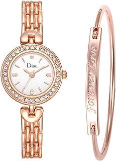 Women Quartz Watch, Light Luxury Girl Temperament Watch Bracelet Set Chain Stainless Steel Wristwatch (Multicolor)
