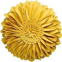 JWH 3D Sunflower Accent Pillow Hand Craft Round Cushion Decorative Pillowcase with Pillow Insert Home Sofa Bed Living Room Decor Gift 14 Inch / 35 cm Wool Cotton Canvas Wool Yellow