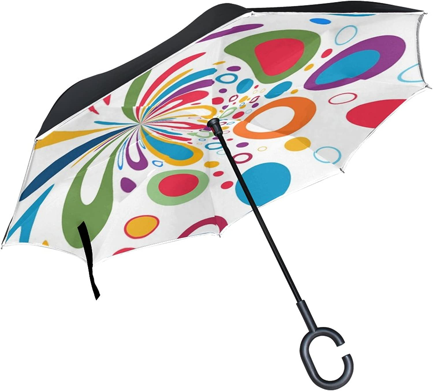 Double Layer Ingreened Light Circle Points Atmosphere colorful Umbrellas Reverse Folding Umbrella Windproof Uv Predection Big Straight Umbrella for Car Rain Outdoor with CShaped Handle
