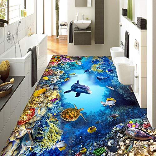 Benutzerdefinierte 3D-Cartoon-U-Boot-Welt 3D-Bodenfliesen Foto-Wandbild Wallpaper Pvc Selbstklebende wasserdichte Kinderzimmer 3D-Bodenbilder 140x100cm