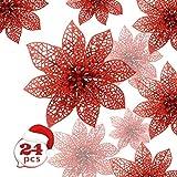Zaloife Poinsettia Adorno, 24 Brillante Flores de �rbol de Navidad Colgantes Navidad Adornos, Flores de Navidad Boda, Artificial �rbol de Navidad Guirnaldas, Decoración de �rbol de Navidad (Rojo)