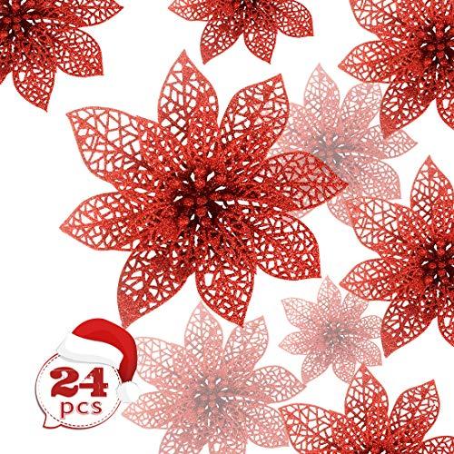 Zaloife Poinsettia Adorno, 24 Brillante Flores de Árbol de Navidad Colgantes Navidad Adornos, Flores de Navidad Boda,...