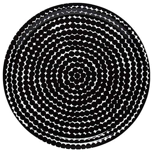 Marimekko - Tablett - Räsymatto - Weiß-Schwarz - D 31 cm