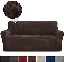 RHF Velvet-Sofa Slipcover, Stretch Couch Covers for 3 Cushion Couch-Couch Covers for Sofa-Sofa Covers for Living Room,Couch Covers for Dogs, Sofa Slipcover,Couch slipcover(Chocolate-Sofa)