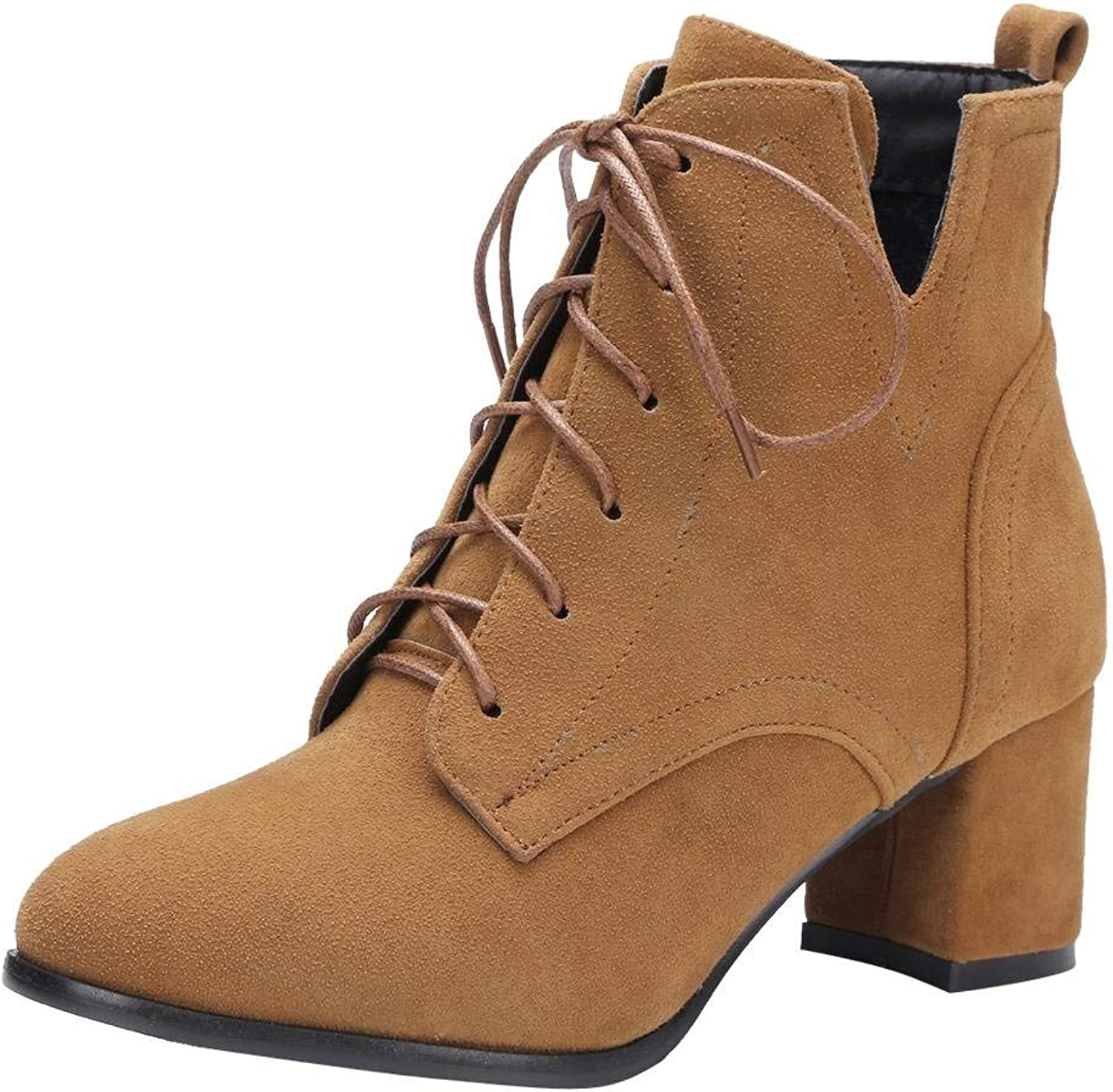 Gcanwea Women's Western Lace Up Chunky High Heel Ankle Boots Breathable Fashion Pointed Toe Warm Winter Height Increase Comfortable Suede Dark Camel 4.5 M US Ankle Boots