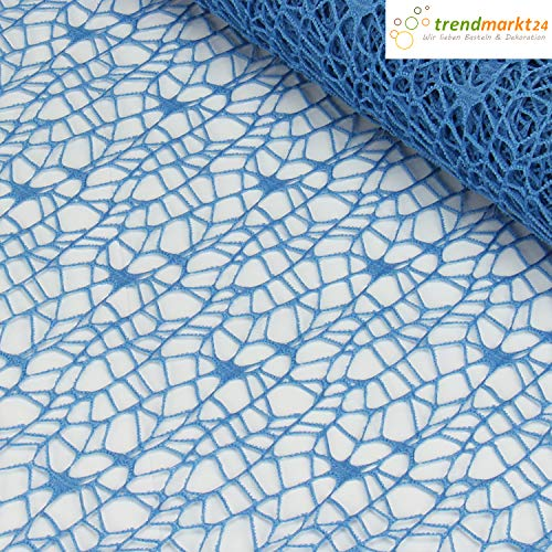 trendmarkt24 Tischläufer Netzoptik blau 48cm x 4,5m Dekoband Uni mit Crash Netz Optik Polyester Tischvlies Tischband Ideal für Hochzeitsdekoration Konfirmation Kommunion Taufe Tischdeko | 3245759-A