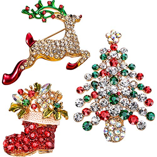 Boao Rhinestone Crystal Christmas Brooch, Christmas Brooch Pins for Christmas Day or Party Celebration, 3 Pieces (Christmas Reindeer, Christmas Tree and Boots Shapes)