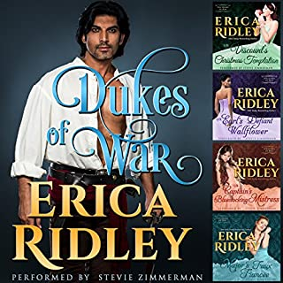 Dukes of War Boxed Set: Books 1-4     Dukes of War, Books 1-4              By:                                                                                                                                 Erica Ridley                               Narrated by:                                                                                                                                 Stevie Zimmerman                      Length: 17 hrs and 33 mins     21 ratings     Overall 4.8