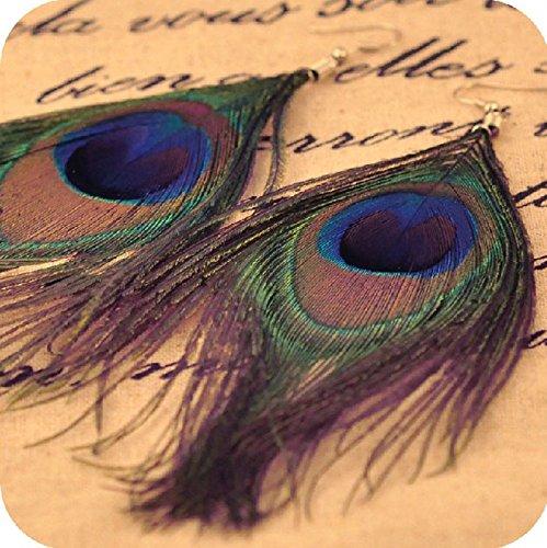 Pendientes estilo lágrima pavo real pluma gancho plateado mujeres cuelgan para Julhold