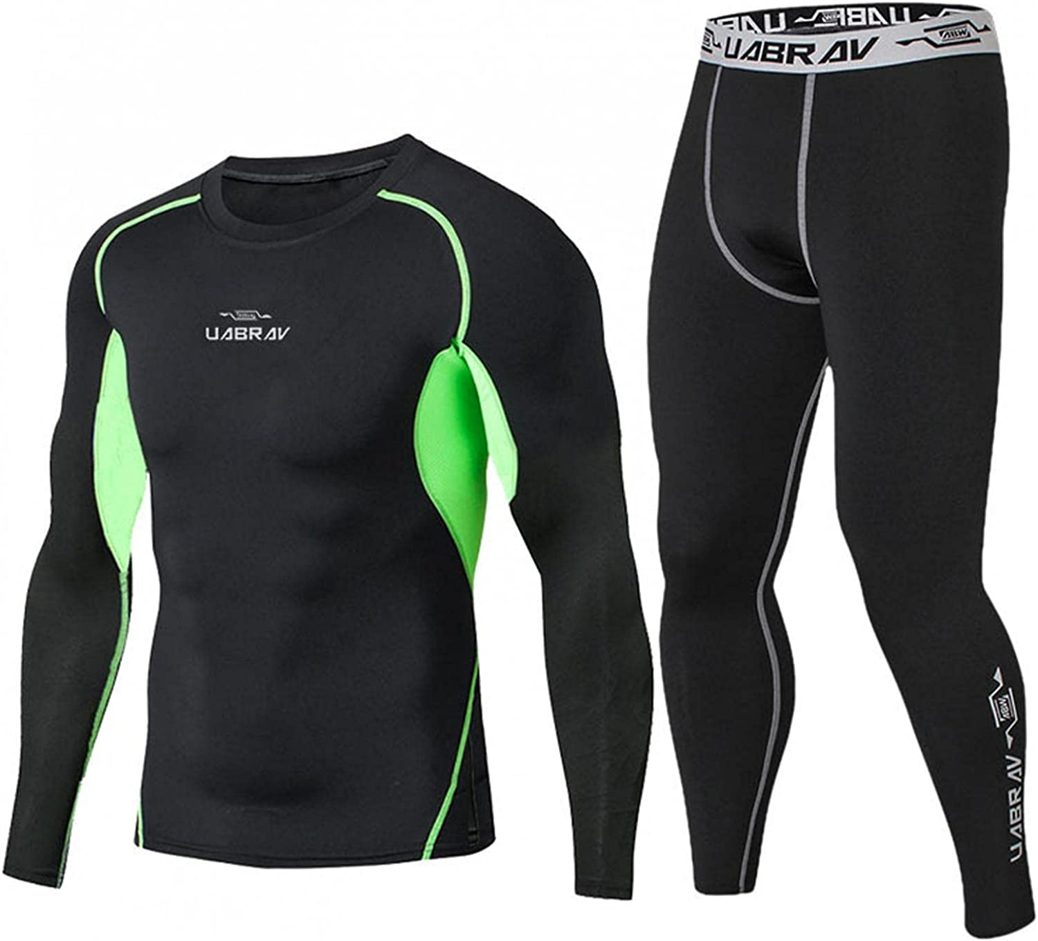 Men's 2 Piece Fitness Tracksuits Workout Compression Shirt & Long Tights Leggings Outfit Gym Running Dry Fit Sport Set
