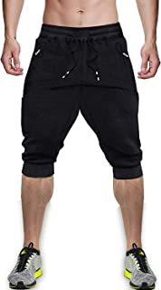 MINHAO Men's 3/4 Joggers Below Knee Breathable Capri Pants Causal Long Shorts with Pockets