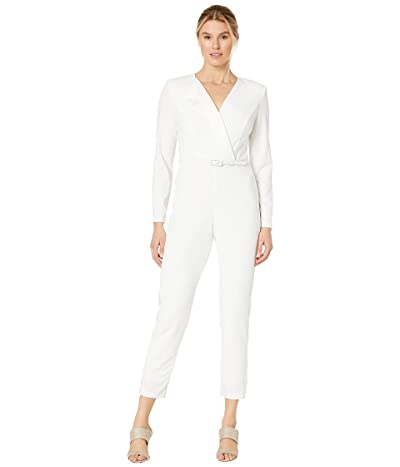 Adrianna Papell Tuxedo Jumpsuit with Satin (Ivory) Women