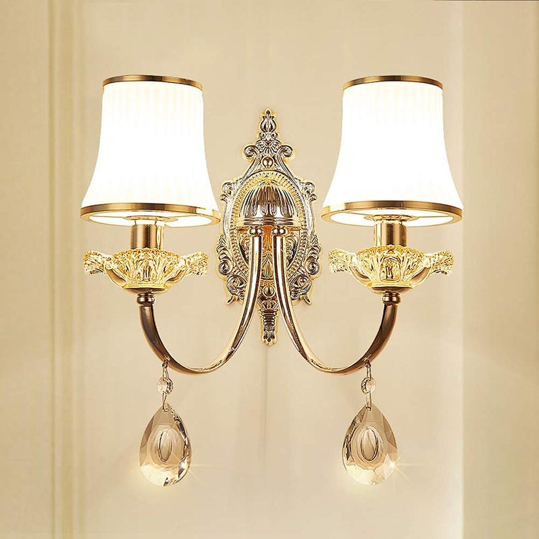 Genuss Wohnzimmer-Wandlampe Der Europischen Art Einfachen Zinklegierung Wohnzimmerhintergrundwanddoppelkopfwandlampe Kristallglas Führte Nachtwandlampe Luxus (Farbe   Double head)