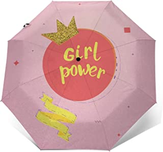 Paraguas Plegable Automático Impermeable Lema de Chica 673, Paraguas De Viaje Compacto a Prueba De Viento, Folding Umbrell...