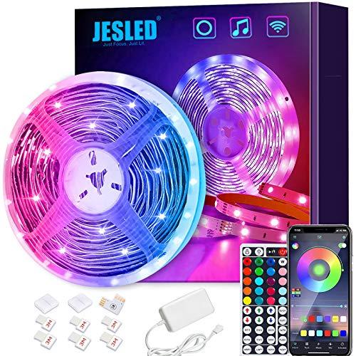 Smart LED Strip, JESLED 5m LED Smart WiFi LED Streifen, RGB LED Band Kit steuerbar via App&RF 44 Tasten Fernbedienung, Sync mit Musik, kompatibel mit Alexa, Google Assistant Android iOS