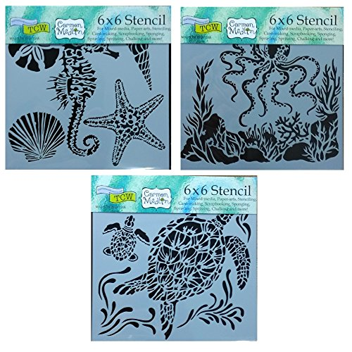 3 Crafters Workshop Mixed Media Stencils Set| for Arts, Card Making, Journaling, Scrapbooking | 6 Inch x 6 Inch Templates | Sea Creatures, Octopus, Sea Turtles