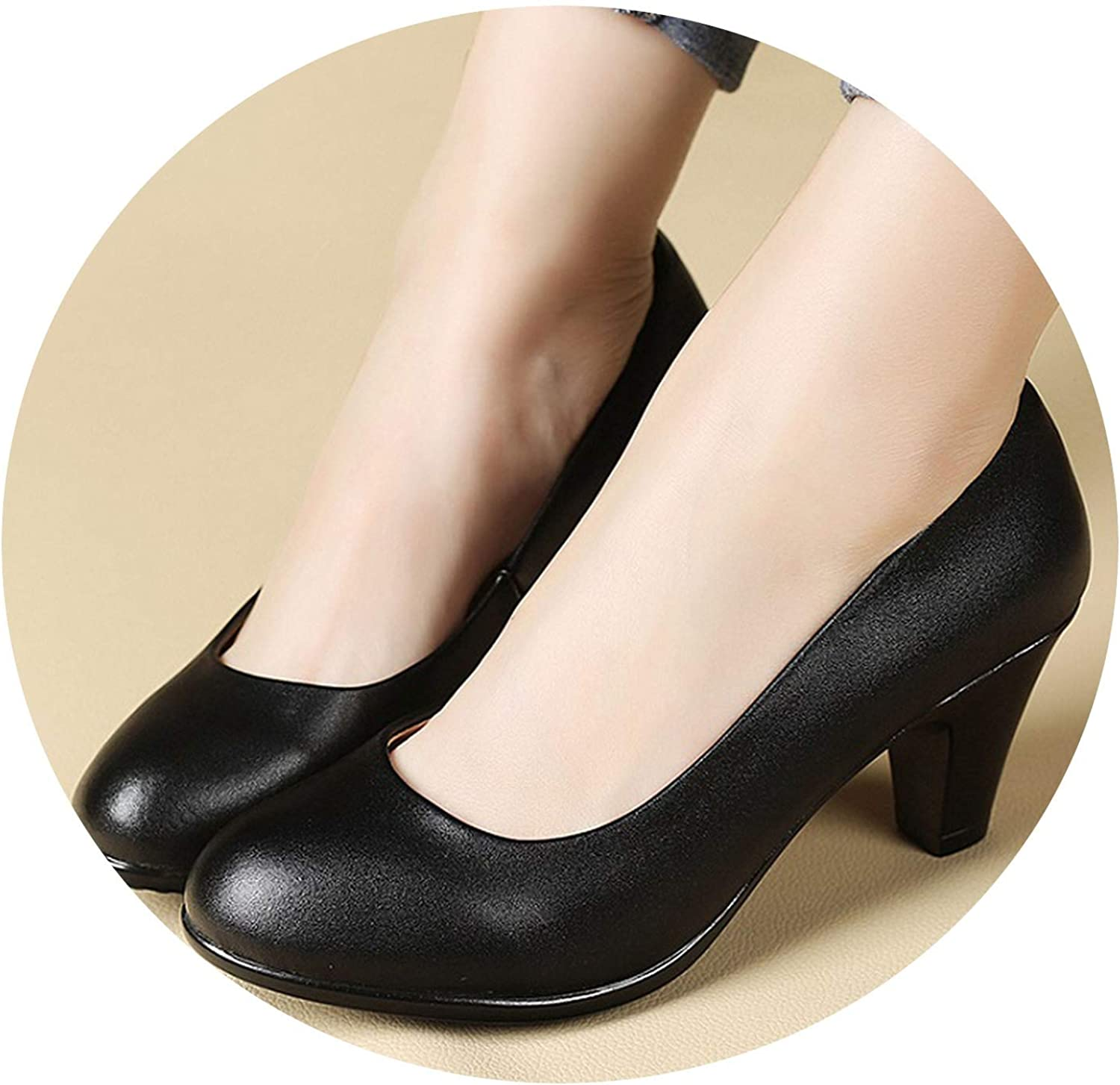 Awesome-experience Spring Autumn New Black Leather shoes Sexy Comfortable Women Work High-Heeled shoes