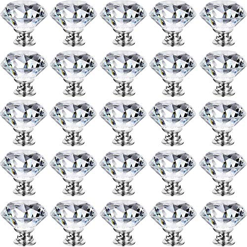GoodtoU Dresser Crystal Knobs - 30MM 25 PCS Glass Crystal Drawer Knobs Pulls Cabinet Handle for Home Kitchen Wardrobe Cupboard