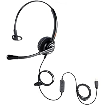 USB Headset with Noise Cancelling Dictation Microphone Computer Telephone Headset for Dragon Voice Speech Recognition Conference PC VoIP Softphone Headphone for Call Center Skype Chat