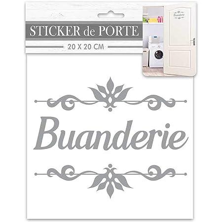 Les Trésors De Lily [R2098 - Sticker Porte 'Buanderie' Gris - 20x20 cm