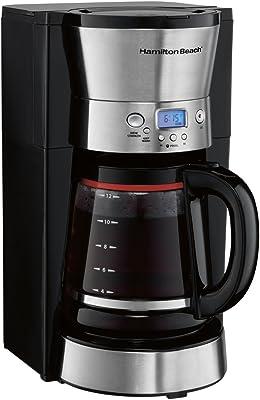 Hamilton Beach 46895 Cafetera Programable, negro-plata, 12 tazas
