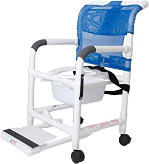 Rolling Shower Chair with Drop Arms, Antimicrobial Mesh Seat, Locking Casters, Seat Belt, Slide Out Footrest and Commode Pail. 300 lb. Capacity, Fits Over Standard Toilet.