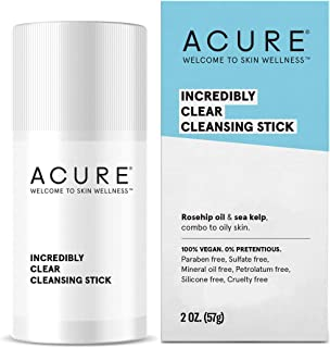 ACURE Incredibly Clear Cleansing Stick | 100% Vegan | For Oily to Normal & Acne Prone Skin | Rosehip Oil & Sea Kelp - Cleanses & Refreshes | 2 Oz
