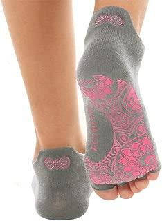 Ellaste Yoga Socks - Open Toe Non Slip Anti Skid Grip Sock for Yoga Pilates Barre - for Women Girl (Gray, Small/Medium (Women 5-8.5 / Men 4-7.5))
