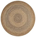 LR Resources Jute LR12032-NGY80RD Natural/Gray Round 8 ft Indoor Area Rug, 8'