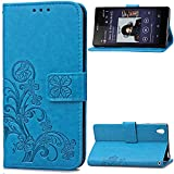 xperia z2 cover - NEXCURIO Wallet Case for Sony Xperia Z2 with Card Holder Side Pocket Kickstand, Shockproof Leather Flip Cover Case for Sony Xperia Z2 - NESDA041640 Blue